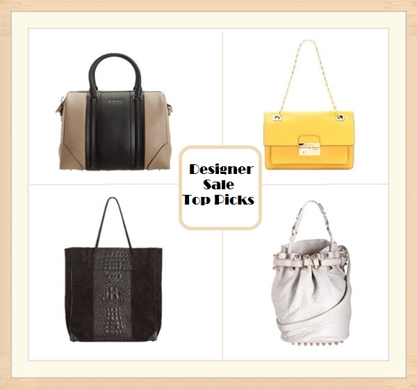 2013 spring Designer sale top picks: Givenchy Bicolor Medium Lucrezia Duffel,  Michael Kors Collection Gia Flap Shoulder Bag,  Alexanda Wang Diego Bucket Bag,  Alexanda Wang Hornback Suede Prisma Tote,
