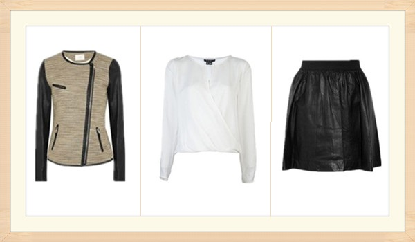 2013 spring Designer sale top picks: IRODeven leather-trimmed metallic tweed jacket,  Theory Aija Wrap Front Silk Top,  Perforated leather mini skirt ,