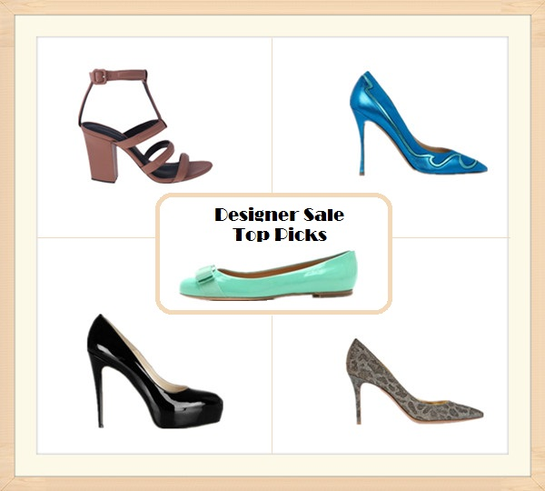 2013 spring Designer sale top picks: Alexanda Wang Anjelika strap heels,  Nicholas Kirkwood Metallic leather and suede blue pumps,  Salvatore Ferragamo Varina Patent Bow Flats,  Gianvito RossiG littered leopard-print mesh pumps ,