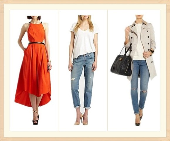 2013 spring Designer sale top picks: JBrand Slouchy Boy Jeans,  Burberry Embellished mid-length cotton-twill trench coat,  Hunter Bell fashion Star Midi orange cut out Dress,