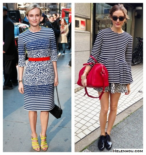 how to mix print, how to wear stripes, how to wear peplum, stripes and leopard, black and white with a pop of color, how to accessories black and white, Diane Kruger, Olivia Palermo,Tibi Horatio Striped peplum jacket, Zara animal PRINTED MINI SKIRT,Louis Vuitton Sofia Coppola red bag, black menswear oxford, leopard sunglasses, gold bracelet, preen stripe dress, red belt, chanel chain bag, yellow strappy sandal,   helenhou, helen hou, the art of accessorizing, accessoriseart, celebrity style, street style, lookbook, model off-duty,red carpet looks,red carpet looks for less, fashion, style, outfits, fashion guru, style guru, fashion stylist, what to wear, fashion expert, blogger, style blog, fashion blog,look of the day, celebrity look,celebrity outfit,designer shoes, designer cloth,designer handbag,