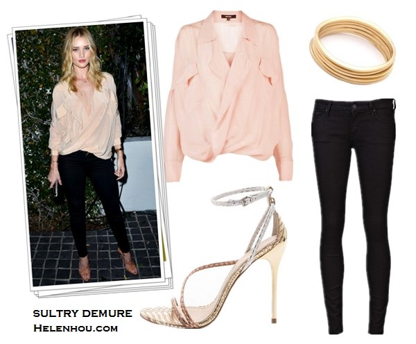 how to wear peach, coral, rose and dusty pink color, Rosie Huntington-Whiteley, Kate Middleton ,Milan street style,Funktional Software ligtht pink sheer Fold Front Blouse,Mother Denim  black skinny Looker jeans, B Brian Atwood strap Sandal, Jacqui Aiche gold jewelry, Tara Jarmon peach coral coat, L.K. BennettAvona Long Roll Clutch,L.K.Bennett nude Pumps,peach coral dress, maternity style, dusty pink sweater, black skirt with slip, lace up booties, Milan fashion week, spring outfit idea,  Funktional Software Fold Front Blouse,  Mother MOTHER The Looker Skinny Jeans,  B Brian Atwood Labrea Asymmetrical strap Sandals,  Jules Smith Surf gold Bangles,   helenhou, helen hou, the art of accessorizing, accessoriseart, celebrity style, street style, lookbook, model off-duty,red carpet looks,red carpet looks for less, fashion, style, outfits, fashion guru, style guru, fashion stylist, what to wear, fashion expert, blogger, style blog, fashion blog,look of the day, celebrity look,celebrity outfit,designer shoes, designer cloth,designer handbag,