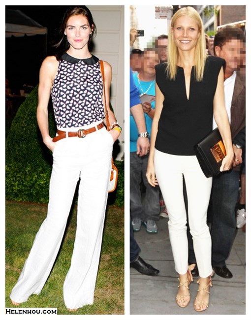 How to wear white pants;  On Gwyneth Paltrow:Barbara black shirt, Tom Ford black Kidskin Natalia Bag,Daniele Michetti strappy sandals, white pants, On Hilary Rhoda: Topshop printed peter pan collar top, Sportmax white wide leg pants,  Madewell brown belt ,vintage crossbody bag, Eddie Borgo white crystal bracelet, Prada shoes,