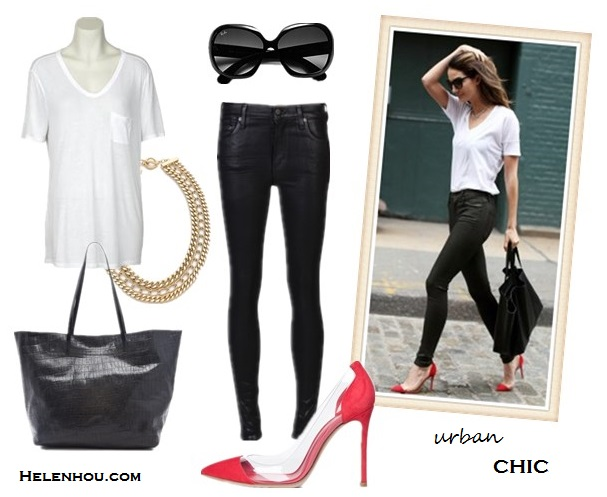 wardrobe staple: versatile white t-shirt; also featured: leather look jeans,clear shoes, Alternatives: T by Alexander Wang Classic T Shirt with Pocket,  Citizens of Humanity Rocket Leatherette Jeans,  Gianvito RossiPlexy Laser Suede Pump in Red,  Joie Sunday Vintage Croco Tote, Ray-Ban Vintage Oversized Round Jackie Ohh Sunglasses,  Adia Kibur 3 Layer Chain Necklace,