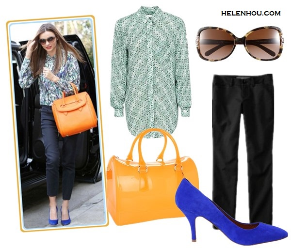 Miranda Kerr street style: wearing Alexander McQueen Heroine orange bag, Stella McCartney printed blouse, Manolo Blanhik blue pumps, black cropped pants and oversized sunglasses by helenhou.com-the art of accessorizing; alternative:Reiss Josh printed oversize shirt, Gap Slim cropped pants,Furla 'Candy' Transparent Rubber Satchel, Chinese Laundry Area pump,Tory Burch 59mm Oversized Sunglasses