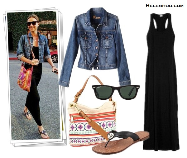 how to wear maxi dresses, what to wear with maxi skirt, Miranda Kerr, street style, Balenciaga quilted leather jacket,Celine tote, black maxi dress, studded bag, black leather booties, sunglasses, lace up booties, burgundy tote, denim jacket, colorful printed crossbody bag, dressy flip flop sandals, light weight summer scarf, beige scarf, python bag, snakeskin bag,  KUT from the Kloth Denim Jacket,  Splendid Ribbed Maxi Dress , ,(Fuchsia) - Bags and Luggage (on sale!)  Tory Burch Thora Flat Thong Sandals ,  Ray-Ban Original Unisex Wayfarer Sunglasses, helenhou, helen hou, the art of accessorizing, accessoriseart, celebrity style,   street style, lookbook, model off-duty,red carpet looks,red carpet looks for less,   fashion, style, outfits, fashion guru, style guru, fashion stylist, what to wear,   fashion expert, blogger, style blog, fashion blog,look of the day, celebrity   look,celebrity outfit,designer shoes, designer cloth,designer handbag,
