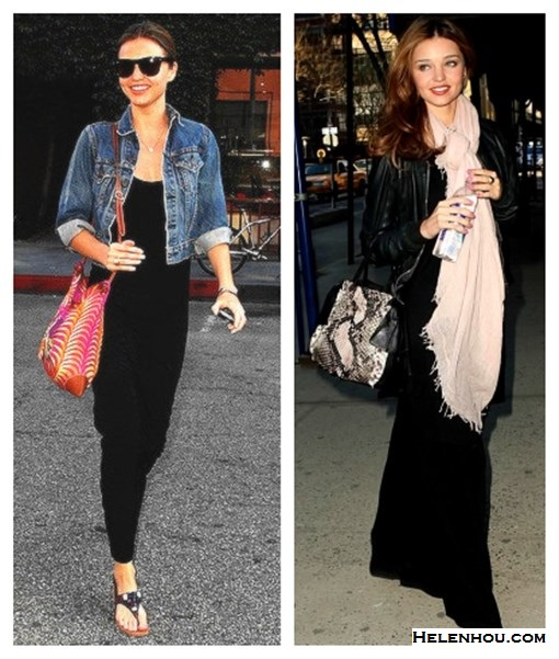 how to wear maxi dresses, what to wear with maxi skirt, Miranda Kerr, street style, Balenciaga quilted leather jacket,Celine tote, black maxi dress, studded bag, black leather booties, sunglasses, lace up booties, burgundy tote, denim jacket, colorful printed crossbody bag, dressy flip flop sandals, light weight summer scarf, beige scarf, python bag, snakeskin bag,   helenhou, helen hou, the art of accessorizing, accessoriseart, celebrity style,   street style, lookbook, model off-duty,red carpet looks,red carpet looks for less,   fashion, style, outfits, fashion guru, style guru, fashion stylist, what to wear,   fashion expert, blogger, style blog, fashion blog,look of the day, celebrity   look,celebrity outfit,designer shoes, designer cloth,designer handbag,