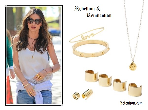 Miranda Kerr-rock and edgy jewelry set Alternative: Gorjana Chloe Necklace,  CC SKYE Mini Spike Bracelet,  Ariella Collection 'Messages - Love' Script Station Bangle,  Maison Martin Margiela Open Ring Set, ASOSChunky Bracelets & Rings Multipack  ,