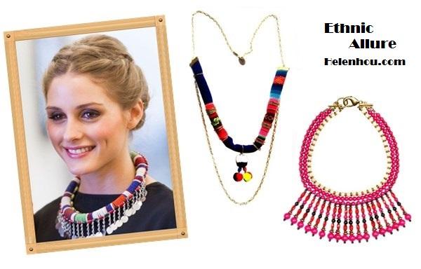 Olivia Palermo wearing ethnic accessories Alternative: Pachamama necklace,  Mango MANGOEthnic necklace,