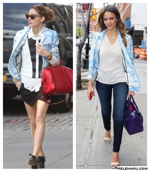 Olivia Palermo, Jessica Alba, how to wear printed blazer, spring jacket, printed jacket, Tibi Daisies printed blazer-black white sweater,plaid window panel printed shirt,  zara skort,Givenchy Lucrezia red Duffel  bag,black oxford, menswear shoes, Wunderkind sunglasses, gold bracelet, white v neck tee shirt, dark washed skinny jeans, white strappy sandals, bar necklace, purple leather bag,     helenhou, helen hou, the art of accessorizing, accessoriseart, celebrity style, street style, lookbook, model off-duty,red carpet looks,red carpet looks for less, fashion, style, outfits, fashion guru, style guru, fashion stylist, what to wear, fashion expert, blogger, style blog, fashion blog,look of the day, celebrity look,celebrity outfit,designer shoes, designer cloth,designer handbag,