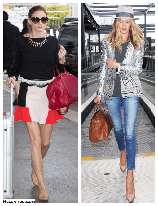how to look good while traveling; On Olivia Palermo:Zara skirt, Louis Vuitton red satchel, black top, nude flats, oversized sunglasses, stick/arrow edgy necklace, embellished belt;  On Rosie Huntington-Whiteley:Mary Katrantzou metallic printed jacquard jacket, AG skinny jeans, Viktor & Rolf brown bag, Jacquie Aiche jewelry, Maison Michel grey fedora hat, nude pumps