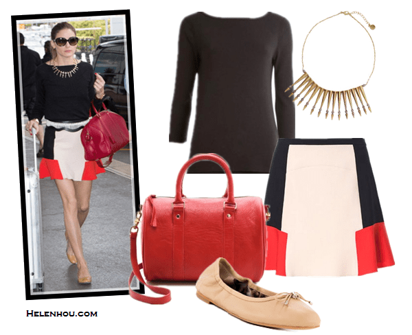 how to look good while traveling; airport style; how to wear flounce skirt; On Olivia Palermo:Zara skirt, Louis Vuitton red satchel, black top, nude flats, oversized sunglasses, stick/arrow edgy necklace, embellished belt;  Alternatives: Three Dots 3/4 Sleeve boatneck British black Tee,  Zara COLOR BLOCK COMBINATION SKIRT,  Sam Edelman 'Felicia' Flat,  CLARE VIVIER Escale red satchel Bag,  House of Harlow Nomadic Warrior Arrow Necklace in Metallic Gold
