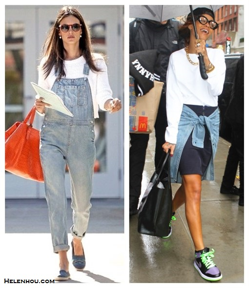 how to wear overalls, baseball hat trend, high-low mix; Alao featured: Topshop Knitted Textured Crop Jumper, topshop MOTO Bleach Long Leg Dungarees,Gerald Darel orange tote, espadrilles, nike sneakers, gold chain/link necklace, baseball hat