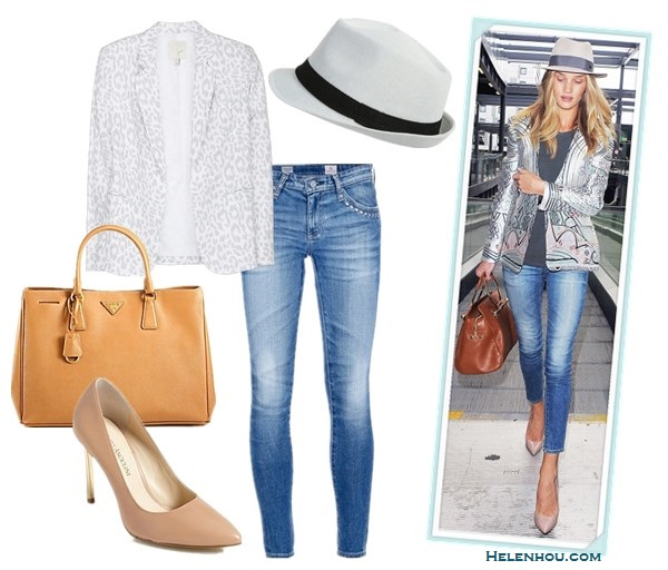 how to look good while traveling; how to wear printed metallic blazer/jacket;  On Rosie Huntington-Whiteley:Mary Katrantzou metallic printed jacquard jacket, AG skinny jeans, Viktor & Rolf brown bag, Jacquie Aiche jewelry, Maison Michel grey fedora hat, nude pumps Alternatives:Joie Mehira Animal Printed blazer,  AG Adriano Goldschmied light washed skinny Legging Jeans,  Enzo Angiolini 'Infiniti' nude Pump,  Prada Saffiano Lux brown Tote Bag,  wet sealThin Banded Fedora,