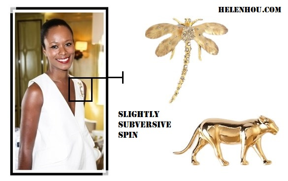 Shala Monroque-white and gold-by helen hou, the art of accessorizing, Alternative: Forever 21 Panther Brooch,  Alexis Bittar 'Allegory' Dragonfly Statement Pin,