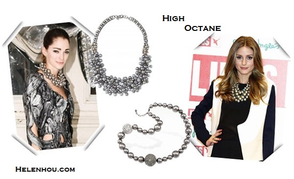 futuristic bold grey pearl necklaces Alternative: stella & dotIsadora Pearl Bib Necklace,  AZ Collection Mirror Polished Ball Necklace,