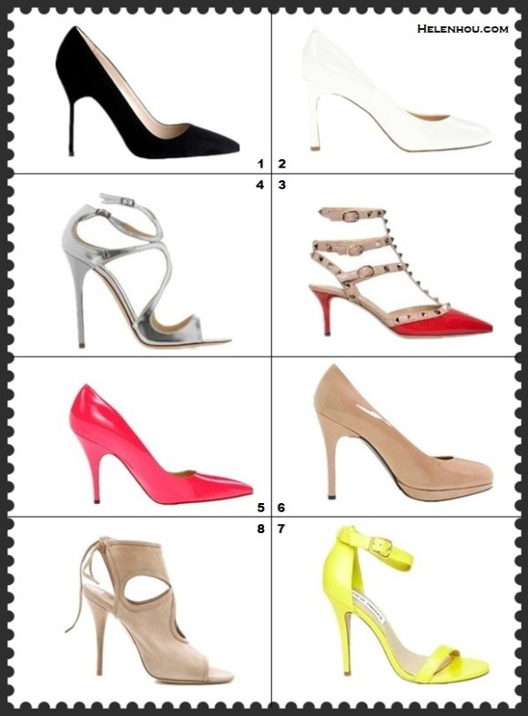 how to wear white dress; Spring 2013 shoes guide; Featured: Manolo Blahnik BB Suede Point-Toe black pointy toe Pumps,  Nine West Drusilla white pumps,  Valentino 'Rockstud' Pump,  Jimmy Choo Lance Mirrored Metallic Leather Sandals,  kate spade new york 'licorice too' neon colored pump,  Stuart Weitzman 'Platswoon' nude Pump,  Steve Madden 'Realove' ankle strap Pump,  Aquazzura Sexy Thing Cutout Booties,