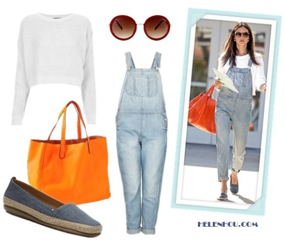 how to wear overalls; featured Topshop Knitted Textured Crop Jumper, topshop MOTO Bleach Long Leg Dungarees,Gerald Darel orange tote; Alternatives:  Gap Leather Tote,  DSW Aerosoles Solitaire Flat,  Asos Round Sunglasses With Metal Bridge Detail,