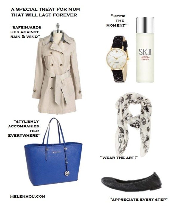 mother's day gift ideas 2013, wardrobe staple,timeless pieces,under 50 gift ideas, under 100 gift ideas,great gift ideas,fashion essentials, beauty essentials, clockwise from top left:  DKNY Pleat Back Trench Coat,  kate spade new york 'metro' round leather strap watch Gold/ Black,  SK-II Facial Treatment Essence,  Alexander McQueen Skull Silk Chiffon Scarf,  Tory Burch Eddie Ballet Flats,   MICHAEL Michael Kors 'Medium Travel' Tote,  helenhou, helen hou, the art of accessorizing, accessoriseart, celebrity style, street style, lookbook, model off-duty,red carpet looks,red carpet looks for less, fashion, style, outfits, fashion guru, style guru, fashion stylist, what to wear, fashion expert, blogger, style blog, fashion blog,look of the day, celebrity look,celebrity outfit,designer shoes, designer cloth,designer handbag,