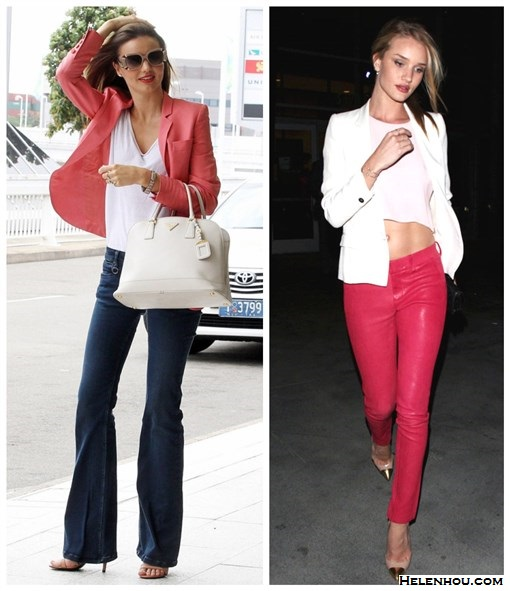 rosie-huntington-whiteley, Miranda Kerr, how to wear a white blazer, how to wear colored jeans, how to wear a pink blazer, how to wear wide leg jeans, Louis Vuitton sunglasses, Prada white bag, Stella Mccartney pink jacket, Alexander Wang Antonia nude strappy sandals, white tee, Christian Louboutin gold cap toe pumps, J Brand Carin mid-rise skinny-leg leather trousers, pink crop top,pink leather skinny,    helenhou, helen hou, the art of accessorizing, accessoriseart, celebrity style,   street style, lookbook, model off-duty,red carpet looks,red carpet looks for less,   fashion, style, outfits, fashion guru, style guru, fashion stylist, what to wear,   fashion expert, blogger, style blog, fashion blog,look of the day, celebrity   look,celebrity outfit,designer shoes, designer cloth,designer handbag,
