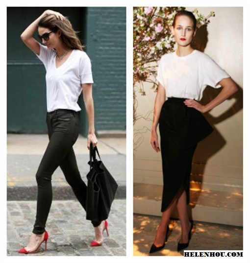 wardrobe staple: versatile white t-shirt; also featured: leather look jeans,clear shoes, asymmetric peplum skirt, pointy toe pump