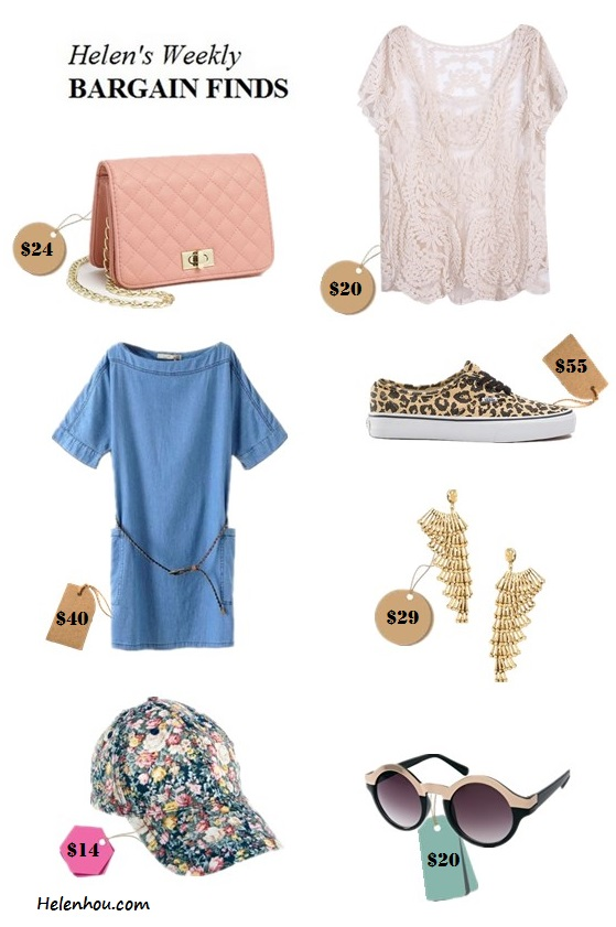 Featured:  Lulu Quilted Crossbody Bag,  SheInside Apricot Short Sleeve Hollow Crochet Lace Top,  Vans Footwear Sneaker in Leopard & Black,  bebe Tiered Wing Earring,  ASOS Metal Top Keyhole Round Sunglasses,  Pieces Greta Floral Cap,  chicnova Boat Neckline Denim Dress with Oversize Pockets Details,