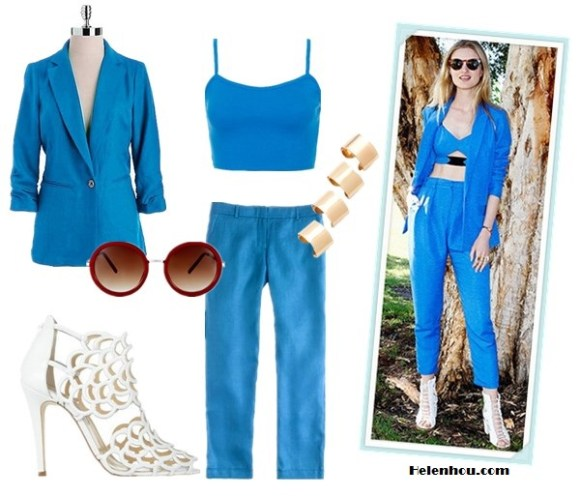 how to Wear Head-To-Toe Color; how to wear bright colored suits; how to wear a cropped top;  On Candice Lake: bright blue suit, blue bustier, white lace up peep toe heel, gold finger ring set, red retro round sunglasses Featured:    MICHAEL Michael Kors Linen Shirred Boyfriend blue Jacket,  TOPSHOP Bralet blue Crop Top,  J.Crew Café capri straight leg blue cropped pants in herringbone linen,  Oscar de la Renta Gladia cutout leather sandals,  Maison Martin Margiela 4 Finger Rings gold ,  ASOS red Round Sunglasses With Metal Bridge Detail,
