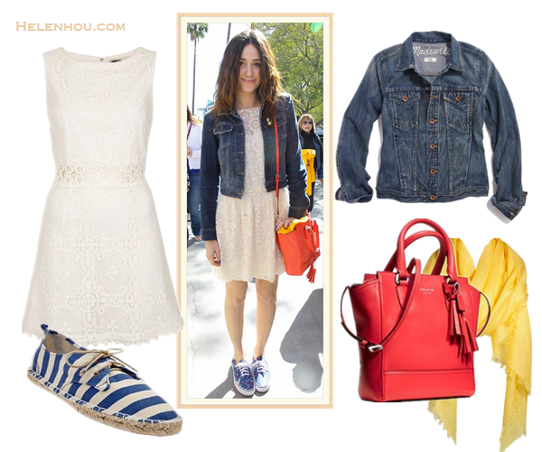 chic denim jacket outfits; how to style a white lace dress or peplum top; how to wear leather pants; street style; red carpet look; What To Wear To A Music Festival; Travel Outfits ideas;  On Emmy Rossum: blue dark wash denim jacket, Sam & Lavi Bernadette Duchess white cream Lace Dress,  Coach Legacy Leather Mini crossbody bag, Vans printed sneakers, yellow scarf;  Alternatives: Madewell the jean jacket in storm cloud wash,  Topshop 60s Lace Panel Shift Dress,  Coach 'Legacy Tanner - Mini' Tote,  Gap Printed Lace Up Espadrilles,  Nordstrom Cashmere Blend Eyelash yellow scarf Wrap,
