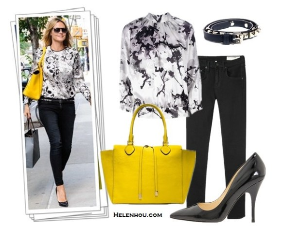 how to wear printed shirts;how to wear bright colored handbags;Heidi Klum,Miranda Kerr; street style;floral printed blouse, black skinny jeans, black pump, yellow bag, leopard printed shirt, blue skinny jeans, black ballet flats, yellow crossbody bag, oversized cat eye sunglasses. On Heidi Klum:black and white floral printed blouse, Paige black skinny jeans, Christian Louboutin black pumps, Michael Kors Miranda Pebbled yellow Tote, clear aviator sunglasses, embellished belt; Alternatives: Pierre Balmain floral print silk blouse,  Rag & Bone/JEAN High Rise Skinny Jeans,  Kate Spade New York Licorice black patent leather pump,    Mulberry Eliza studded belt