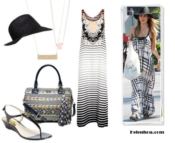 "how to wear maxi dresses; black and white trend; monochrome look;  On Jessica Alba:Sam & Lavi plaid maxi dress, Simone Camille bag,  Jennifer Meyer Personalized Nameplate gold necklace, black fedora, black sandal. Alternatives:  Emma Cook Peach Sailor Stripes and floral Silk Maxi Dress,   Tory Burch ROBINSON MOCHILA MIDDY SATCHEL printed,  MICHAEL Michael Kors t strap 'Hamilton' Sandal,  FOREVER 21 Braided black Straw Fedora,  Jennifer Meyer Personalized Nameplate - Yellow Gold 2 Sided ,  Jennifer Zeuner JewelryMini 1/2"" Heart Necklace with Diamond,  Roberto Coin 'Tiny Treasures' Key Necklace,"
