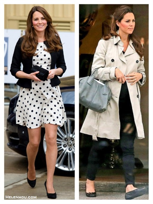 What to Wear During Pregnancy; Kate Middleton maternity/pregnancy style; Maternity dresses; Maternity jeans. On Kate Middleton: Topshop black and white Polka Dot Dress,Ralph Lauren black jacket, peal earrings, black suede pumps, black clutch;  On Kate Middleton:trench coat, black maternity jeans, French Sole Henrietta Patent Quilted Ballet Flats,Tod's 'D-Styling' Leather Satchel.