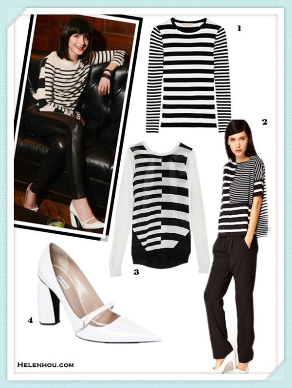 how to wear a striped sweater/top,how to dress up a casual shirt/sweater;Michele Hicks, Jenna Lyons,  Jen Brill,Jennifer Meyer,party outfits,casual attire.  On Michele Hicks:striped sweater/shirt, black leather pants, Marc JacobsGlossed-leather Mary Jane pumps;   Alternatives:  MICHAEL MICHAEL KORS Striped ribbed knitted top,  Antipodium Syntax T-Shirt in Patchwork Stripe,  INTERMIX Shae EXCLUSIVE Split Stripe Sweater,