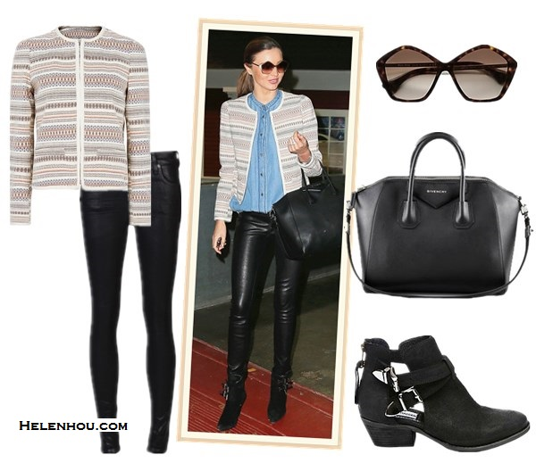 how to wear tweed/striped jacket; how to mix prints; how to style printed shorts and leather pants; street style;  Olivia Palermo,Miranda Kerr; airport style;   On Miranda Kerr: Mango Ikat Stripe Trophy Jacket, Givenchy Antigona Satchel Bag in black,Helmut Lang Stretch Leather Pants, Mango denim/chambray shirt, Miu Miu Brushed Gold Metal Culte Star Sunglasses,Tabitha Simmons black ankle booties. Also featured: Citizens of Humanity Rocket Leatherette Jeans ,  Steve Madden CINCH black suede ankle booties,