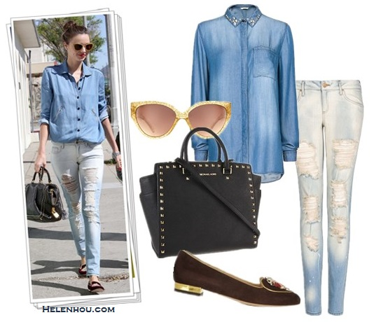 How to style denim/chambray shirt; How to wear distressed jeans or printed denim shorts; Street style;      On Miranda Kerr: Scanlan & Theodore denim/chambray shirt, Mango distressed denim jeans, Miu Miu Crystal-embellished grosgrain slippers, Miu Miu Catwalk Sunglasses with Thin Temple,Prada black bag, red lip  Alternatives:  Mango crystal embellished denim shirt,  Mango distressed super slim jeans,  MICHAEL Michael Kors Selma Stud Large North South Tote ,  Charlotte Olympia Taurus suede slippers,  River Island Claudine glitter Cateye Sunglasses,