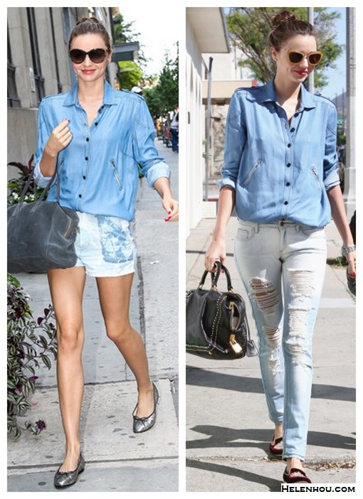 How to style denim/chambray shirt; How to wear distressed jeans or printed denim shorts; Street style;  On Miranda Kerr: Scanlan & Theodore denim/chambray shirt, Mango distressed denim jeans, Miu Miu Crystal-embellished grosgrain slippers, Miu Miu Catwalk Sunglasses with Thin Temple,Prada black bag, red lip  On Miranda Kerr: Scanlan & Theodore denim/chambray shirt,  Isabel Marant denim shorts, Pretty Ballerinas silver metallic ballet flats, Balmain X Aurélie Bidermann suede grey bag, Linda Farrow oversized sunglasses, red nail and lip