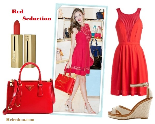 How to wear a red dress; strappy sandals; wedding guest outfit ideas; On Miranda Kerr: Jill Stuart red dress, Barbara ankle strap wedge sandals, Stonehenge jewelry, Samantha Thavasa red tote; Alternatives:   ModCloth red Mesh Dress,  Prada Saffiano Vernice Tote Bag,  ModCloth Living on the Coast ankle strap Wedge,  Guerlain 'Habit Rouge 121′ lip color,