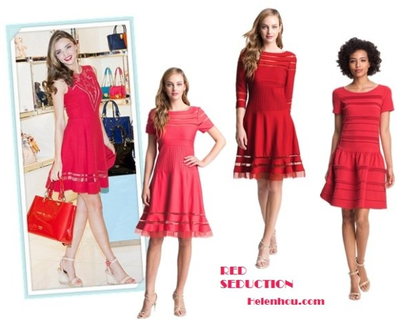 How to wear a red dress; strappy sandals; wedding guest outfit ideas; On Miranda Kerr: Jill Stuart red dress, Barbara ankle strap wedge sandals, Stonehenge jewelry, Samantha Thavasa red tote; Alternatives:  Tadashi Shoji Mesh Stripe Short Sleeve Fit & Flare Dress,   Tadashi Shoji Mesh Stripe Fit & Flare Dress,  Eliza J Seamed Drop Waist Dress,