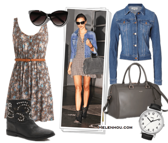 chic denim jacket outfits; how to style a floral dress; how to wear studded ankle boots; street style; What To Wear To A Music Festival; Travel Outfits ideas; On Miranda Kerr: G-Star denim jacket,printed sundress,  Isabel Marant boots, Bulgari watch, Chanel oversized sunglasses, Balmain grey bag; Alternatives: J Brand universe Denim Jacket,  ModCloth floral printed dress,  Isabel Marant The Caleen studded leather concealed wedge boot,  Saint Laurent Duffle 6 - Medium' Leather Satchel,  Urban Outfitter SUO Oversized Cat-Eye Sunglasses,  Timex Easy Reader' Leather Strap Watch ,
