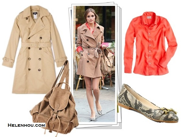 stylish trench coat looks; Chic Summer Vacation Style;street style;party outfit;  On Olivia Palermo: camel trench coat, backpack, snakeskin/python ballet flat, orange shirt Featured:  A.P.C.New Gabardine Classic Teflon Trench,  J.Crew Perfect shirt in linen orange ,  Anthropologie Shingle Beach Backpack ,  C. Wonder Snake Embossed Logo Ballet Flat,