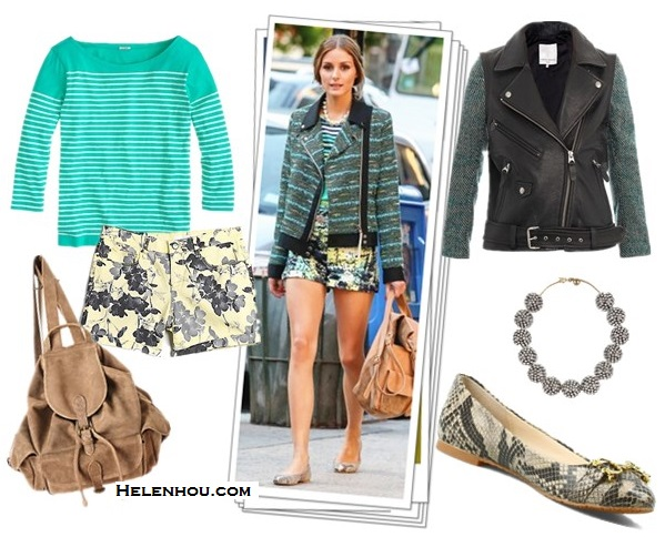 how to wear tweed/striped jacket; how to mix prints; how to style printed shorts and leather pants; street style;  Olivia Palermo,Miranda Kerr; airport style;   On Olivia Palermo: tweed moto jacket with stripes; printed shorts, striped shirt, silver statement necklace, python/snakeskin ballet flats, backpack, Featured: Opening Ceremony Moto tweed and leather jacket ,  J.Crew Engineered-stripe boatneck top,  DKNY JEANS Floral Print Rolled-Hem Denim Shorts,  Anthropologie beach bag,   C. Wonder Snake Embossed Logo Ballet Flat ,  Lulu FrostSiren Collar gold-plated crystal necklace,