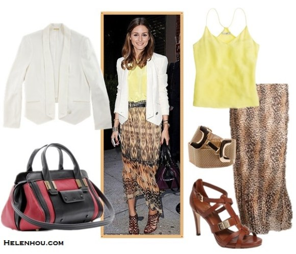 how to wear a white blazer; street style; how to wear maxi dress or skirt;  On Olivia Palermo: Christian Louboutin strappy sandals, Rebecca Minkoff becky white blazer Jacket, Chloé 'Alice' two tone purple and black bag, yellow silk cami, printed sheer maxi skirt, gold bracelet, gold watch, metallic belt;  Alternatives:  J.Crew Carrie cami,  Chico Pleated Animal Maxi Skirt ,  'Cole Haan Marine Air' Sandal,   Mango Hook mesh belt,