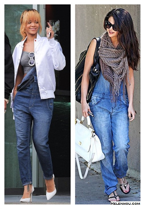 Four Stylish Ways To Wear Overalls;How to wear a cropped top; How to wear bomber jackt; How to wear stripes;   On Rihanna: BIG STAR 1974 Heather Overall in Denim,white bomber jacket, grey cropped top, white round sunglasses, white pump, On Selena Gomez: Dolce&Gabbana 'Miss Sicily' Top Handle Leather Satchel,  BDG scarf,Cocobelle strappy sandal,denim overall, black sunglasses.