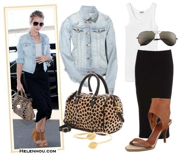 Style denim jacket; how to wear floral printed pants; how to wear midi skirt; street style, airport style;      On Rosie Huntington-Whiteley: Burberry aviator sunglasses, J Brand light washed denim jacket, Mulberry Black Del Rey Soft Spongy Bag in leopard, IRO Oxnard suede ankle cuff sandal,Jacquie aiche Pave Leaf Cuff, black midi skirt.  Alternatives: Splendid1x1 Tank Top,  Leith Double Layered Tube black mini Skirt,  Vince Adria Ankle Cuff Sandals ,  CLARE VIVIER Haircalf Escale leopard Duffel Bag,  Ray-Ban - 3025 Aviator 58mm Original sunglasses,  Gorjana & Griffin Raleigh II leaf  gold Cuff,