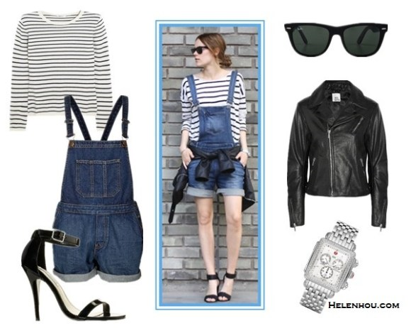 Four Stylish Ways To Wear Overalls;How to wear a cropped top; How to wear bomber jackt; How to wear stripes;  On Sara Strand:H&M ankle strap heels, To by Part Two   dungarees denim overalls, Gina Tricot leather jacket, striped sweater, Ray-Ban sunglasses, Guess watch and Efva Attling bracelet. Alternatives:  N.Peal Cashmere Striped cashmere sweater ,  Topshop MOTO Vintage Denim Dungarees,  Iris & InkLeather biker jacket,  Steve Madden'Realove'ankle strap sandal heel,  Ray-BanOutsiders Oversized Wayfarer Sunglasses,  Michele deco Diamond' Diamond Dial Watch Case,