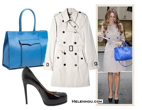 stylish trench coat looks; Chic Summer Vacation Style;street style;party outfit; On Sofia Vergara: classic trench coat, blue satchel bag, black platform pump; Featured:  Burberry BritStone Cotton Trench Coat ,  Pour La Victoire - Irina Black Patent platform pumps,  Rebecca Minkoff 'M.A.B.' blue Leather Tote,