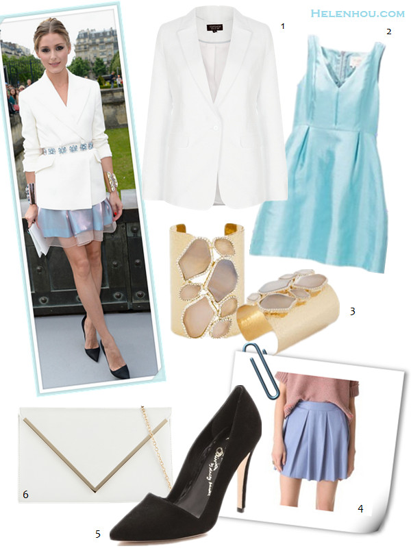 how to wear a white blazer, event outfit idea, date outfit ideas, how to wear animal print, How to Wear a drop-waist skirt; Olivia Palermo, street style, fashion week, spring/summer On Olivia Palermo: Christian Dior white jacket, organza skirt, embellished belt, and black pointy toe pumps, white clutch; statement gold cuff,  alternatives: 1. Topshop Textured Blazer, 2. Kate Spade New York susannah blue dress,  3. BCBG Natural Stone Mosaic Cuff,  4. ONE by Boundary Vegan Leather Skirt ,  5. Alice + Olivia Dina Suede black Pumps,  6. Also BERNELL women White Synthetic envelope clutch,