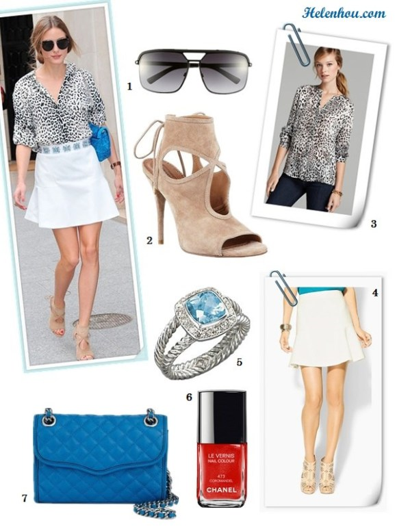how to wear a white blazer, event outfit idea, date outfit ideas, how to wear animal print, How to Wear a drop-waist skirt; Olivia Palermo, street style, fashion week, spring/summer,  On Olivia Palermo:Christian Dior blue bag and embellished belt,leopard print blouse, Dior aviator sunglasses, Aquazzura Sexy Thing Suede Cutout Sandal, Aryn K Seamed Drop-Waist white Flip Skirt, Alternatives:  1. Dior 'Havane' Metal Aviator Sunglasses,  2. Aquazzura nude cut out suede sandal,  3. Joie Blouse - Gudelia Leopard Print ,  4. Aryn K Seamed Drop-Waist white Skirt ,  5. David Yurman Blue Topaz, Diamond & Sterling Silver Ring ,  6. Chanel Le Vernis Nail Colour 'Coromandel',  7. Rebecca Minkoff Shoulder Bag - Diamond Quilt Mini Affair ,