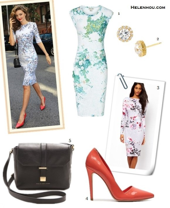 How to wear a floral printed dress; what to wear to a   wedding; how to wear a lace dress; how to wear a see-  through dress;Miranda Kerr; party outfit; street style; On miranda kerr: Erdem Irene floral-print silk-sateen   dress,  Lanvin coral red pump, Louis Vuitton black   crossbody bag; Alternatives: 1. Reiss Gilda Pointelle PRINT DAY DRESS,  2. Nordstrom Pavé Round Stud Earrings,  3. ASOS Floral Watercolour Bodycon dress,   4. Alice + Olivia Dina Pump,  5. Marc by Marc Jacobs Natural Selection Mini Messenger Bag,