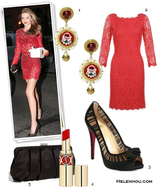 How to wear a floral printed dress; what to wear to a   wedding; how to wear a lace dress; how to wear a see-  through dress;Miranda Kerr; party outfit; street style; On Miranda kerr:Dolce & Gabbana red lace dress, Dolce &   Gabbana Micro Mosaic Clip Earrings,Christian Louboutin   Angelique Leather/Chiffon Peep-Toe Red Sole Pump,   Black,black satin clutch. Alternatives:  2. Diane von Furstenberg Zarita Lace Dress,  3. Christian Louboutin Angelique Leather/Chiffon Peep-Toe Red Sole Pump, 4. Yves Saint Laurent ROUGE VOLUPTÉ - Silky Sensual Radiant Lipstick , 5. Nina pleated Satin Clutch