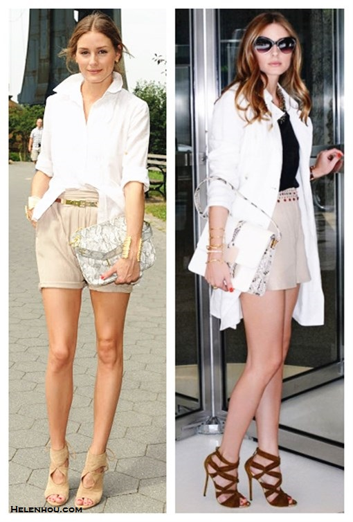 summer work outfit ideas; how to wear white; how to wear cut out shoes; how to wear bermuda  shorts; Olivia Palermo, white shirt/blouse; beige/khaki shorts, cut out heel sandal, white trench coat, python/snakeskin bag, white colorblock bag, black top, tibi, strappy sandal, Jimmy Choo, street style, spring/summer,   On Olivia Palermo: Aquazzura Sexy Thing Suede Cutout Sandal, Nude,Olivia and Joy Olivia + Joy Handbag, Regards Small Shoulder Bag.  On Olivia Palermo: Tibi Silk Strappy Cami, Elizabeth and James Hendrick Trench, Elizabeth and James Addeline Crystal-Embellished Linen Shorts, Jimmy Choo Kemble Knotted Suede Sandals, Devi Kroell Moon Large Sutton bag,  Lulu Frost layered statement necklace, Elizabeth and James cuffs ,Cartier watch.
